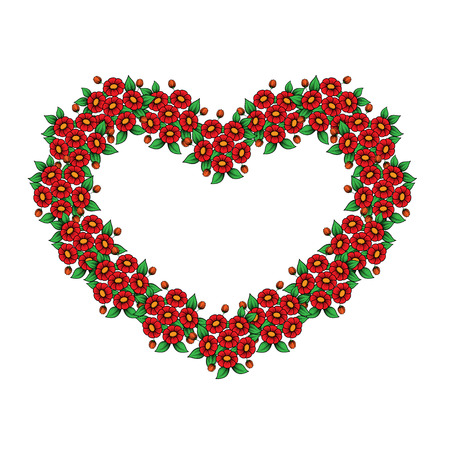 Red floral heart frame isolated on white background Standard-Bild - 124652082