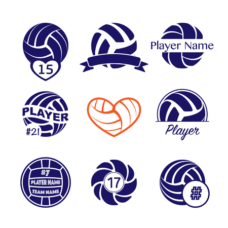 Set of different dark blue volleyball symbols with player name and number for t-shirt