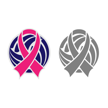 Gray and color volleyball symbol with breast cancer awareness ribbon isolated on white background 向量圖像