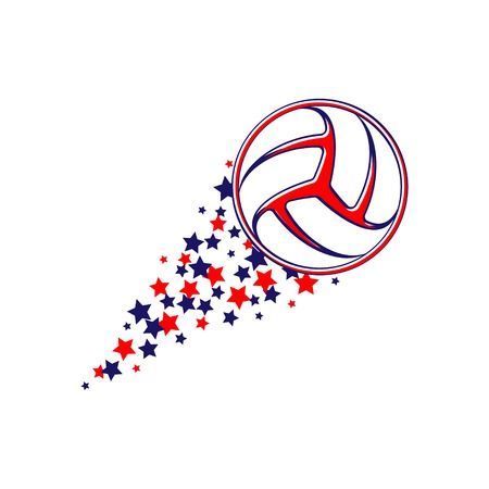 Red and blue volleyball symbol with different stars path 向量圖像