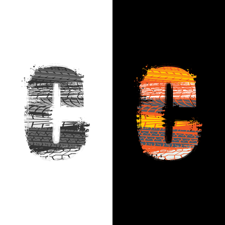 Two grunge letter C with tire tracks isolated on differennt backgrounds