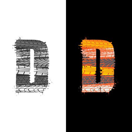 Two grunge letter D with tire tracks isolated on differennt backgrounds