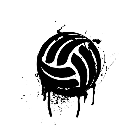 Black grunge volleyball silhouette isolated on white