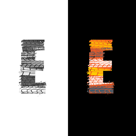 Two grunge letter E with tire tracks isolated on differennt backgrounds