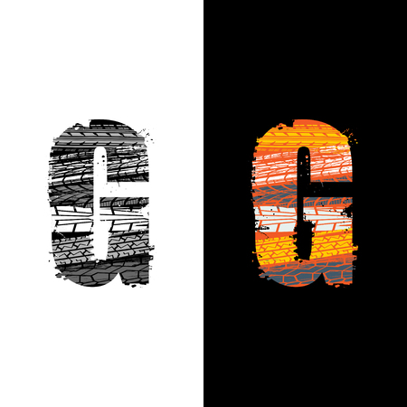 Two grunge letter G with tire tracks isolated on differennt backgrounds