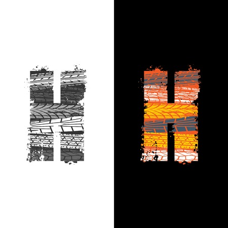 Two grunge letter H with tire tracks isolated on differennt backgrounds Illustration