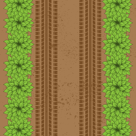 Brown ground grunge background with tire tracks and green bushes
