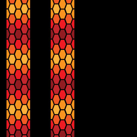 Hot color tire tracks isolated on black background