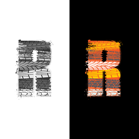 Two grunge letter R with tire tracks isolated on differennt backgrounds