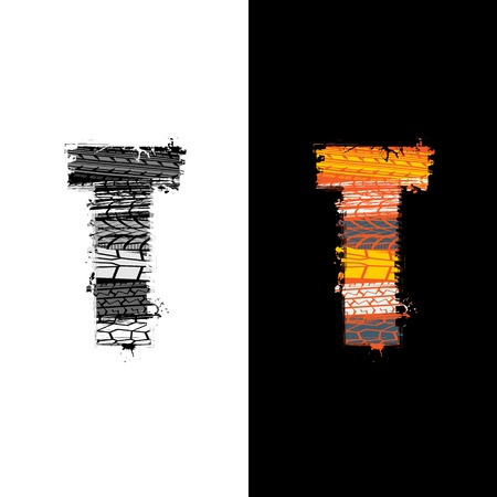 Two grunge letter T with tire tracks isolated on differennt backgrounds