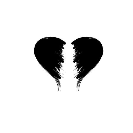 Broken heart grunge black silhouette isolated on white background Illustration