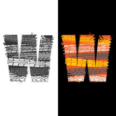 Two grunge letter W with tire tracks isolated on differennt backgrounds