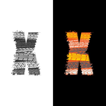 Two grunge letter X with tire tracks isolated on differennt backgrounds