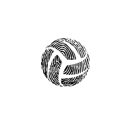 Black and white fingerprint volleyball symbol isolated on whitebackground