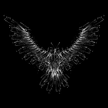 White grunge bird silhouette with ink splash isolated on black background