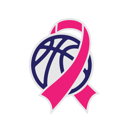 Gray and color basketball symbol with breast cancer awareness ribbon isolated on white background