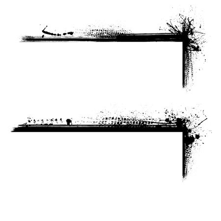 Set of two black grunge horizontal frames with tire tracks isolated on white background  イラスト・ベクター素材