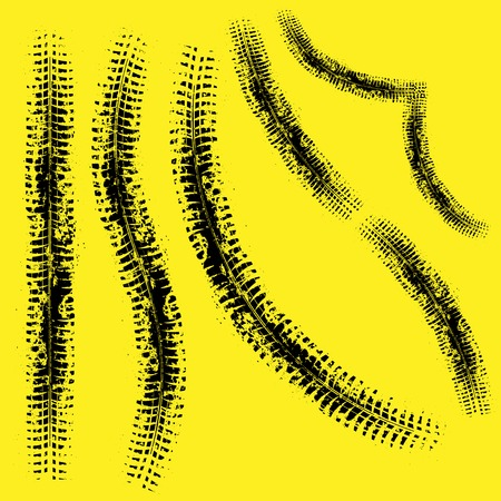 Different form grunge tire tracks isolated on yellow background