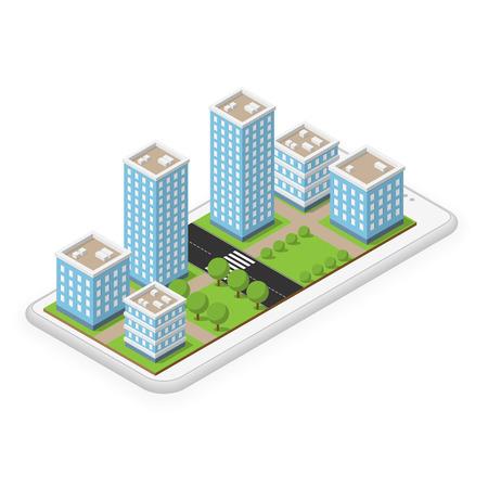 White custom made smartphone with isometric city