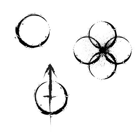 Grunge circle symbols Ilustracja