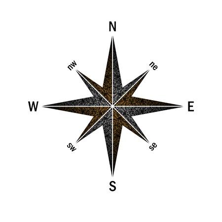 Windrose mit orange-weißem Muster Vektorgrafik