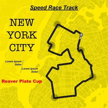 Yellow NY map race track