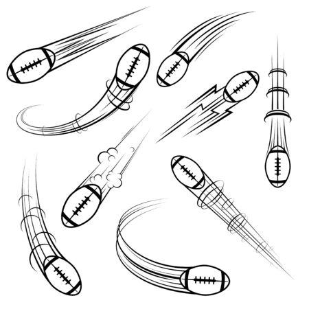 American football symbols movement set Ilustração