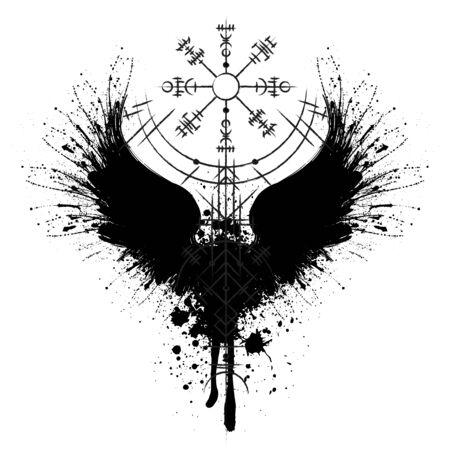 Raven scandinavian silhouette