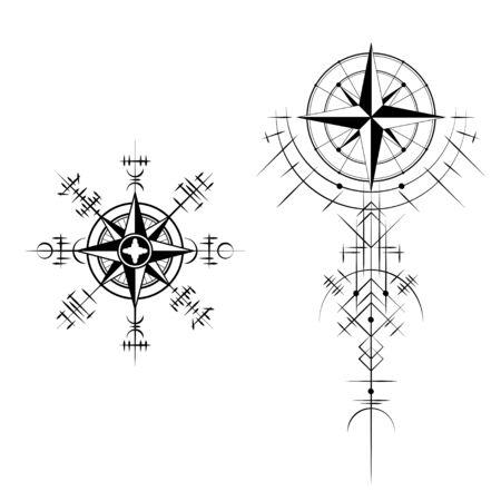 Schwarze abstrakte magische Wikingersymbole isoliert auf weißem Hintergrund Vektorgrafik