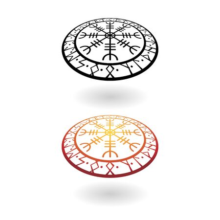 Viking circle perspective symbols set