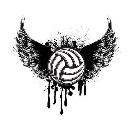 Black volleyball wings grunge symbol 矢量图像