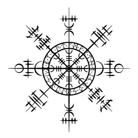 Schwarzer Grunge-Kreis mit weißen skandinavischen Wikingersymbolen