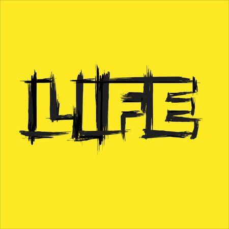 Life text grunge yellow background Stock Illustratie