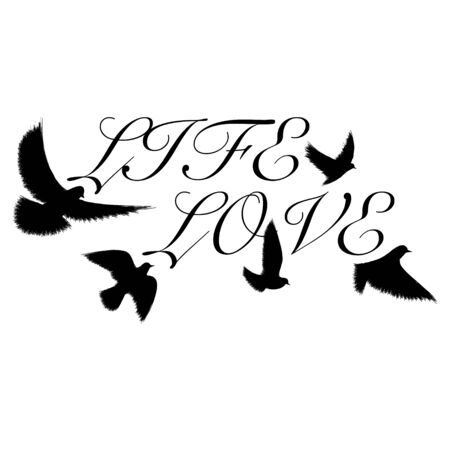 Birds flying text black silhouette
