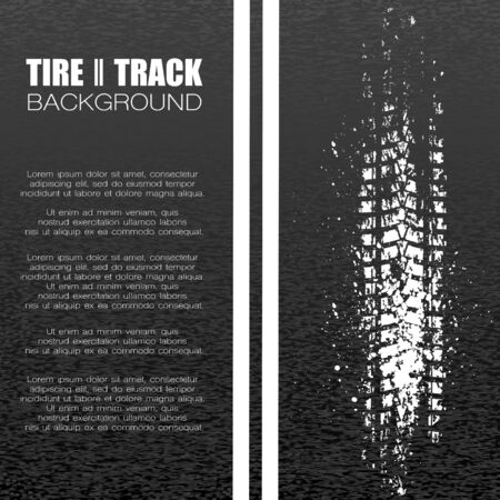 Black asphalt background with white tire track and text Vectores