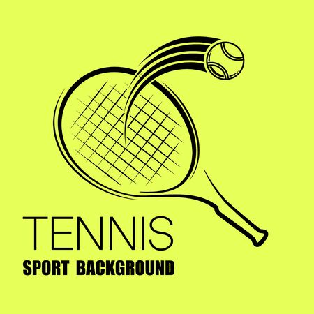 Black outline tennis racket and ball symbol with text isolated on yellow background