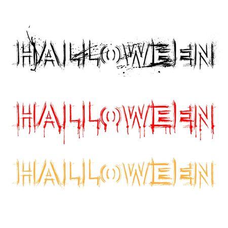 Halloween grunge ink text set