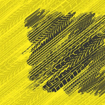 Tire tracks yellow square background