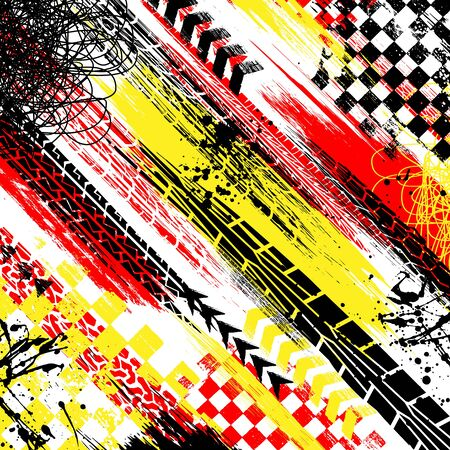 Abstract background with red, yellow and black grunge splashes and tire tracks