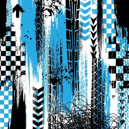 White background with grunge black and blue tire tracks and ink blots Illustration