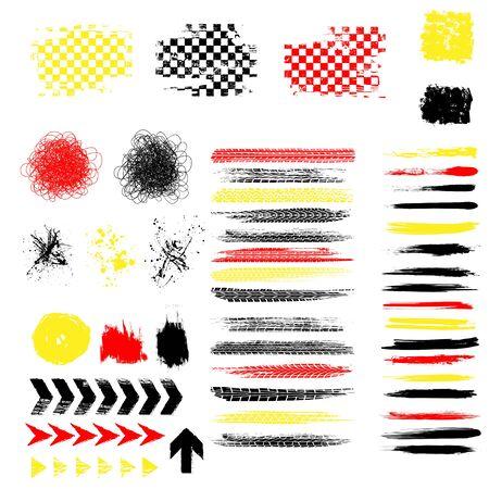 Grunge tire color elements set