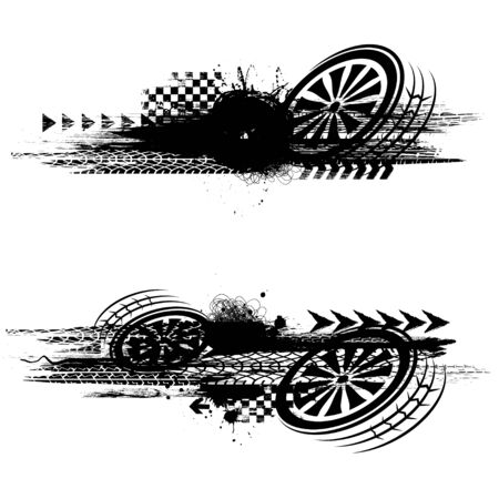 Grunge black tire track banners