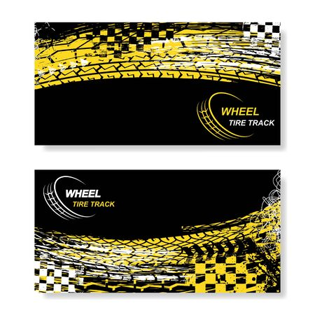 Two black banners with white and yellow ink blots and tire tracks Ilustração