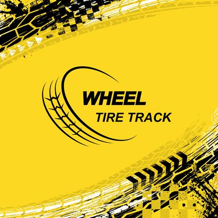 Yellow square background with black and white grunge ink blots and tire tracks Ilustração