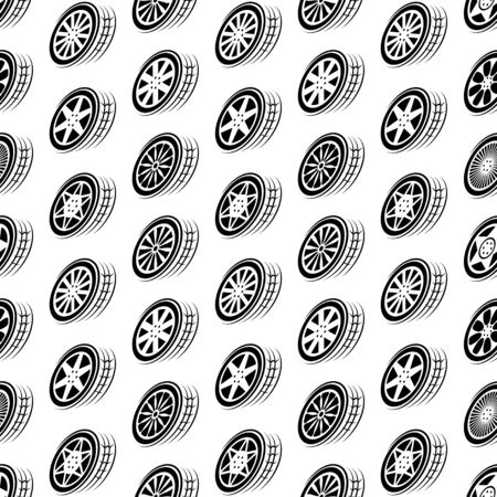 Seamless black wheel outline background