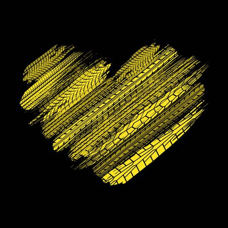 Black background with yellow grunge tire track silhouettes Illustration