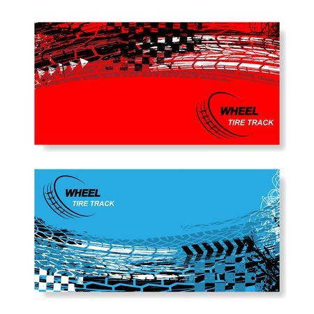 Wheel tire track horizontal banners