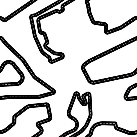 Black road lines isolated on white background