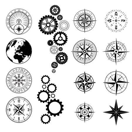 Ensemble de différentes silhouettes de symboles de conception noire isolés sur fond blanc