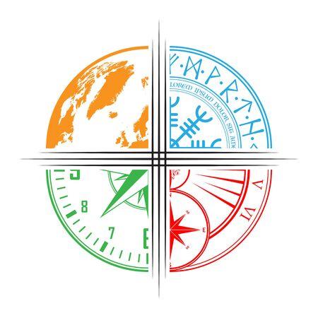 Symboles de couleur de la carte du monde, de l'horloge, de la rose des vents et du symbole abstrait
